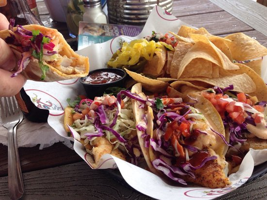 The Spot: Best fish tacos we've ever eaten. Double wrapped in both a corn and flour tortilla. Included pur