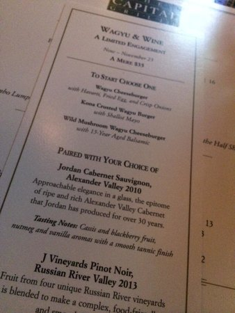 The Capital Grille: Wagyu & wine tasting menu at the bar