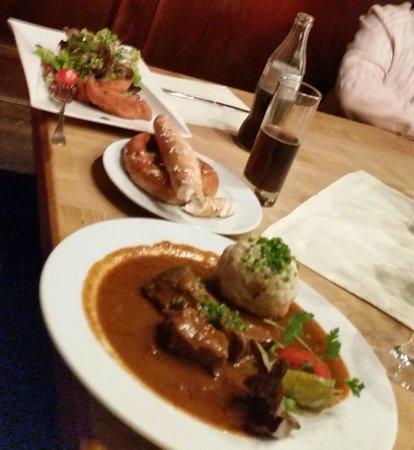 Zum fidelen Affen: goulash and breaded chicken salad - sorry about the blur!