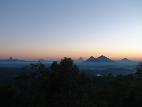 Wamuran, Australia: View from the deck of Gulloo cabin at dusk