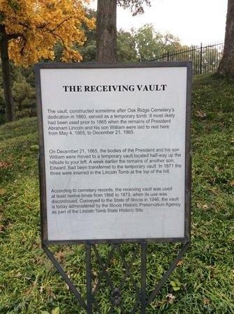 Oak Ridge Cemetery: The Receiving Vault Signage