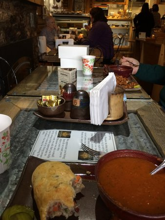 The Coffee Pot Bakery Cafe: Our table and delicious lunch