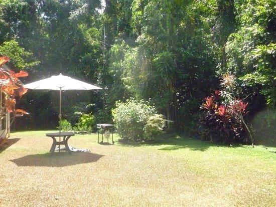 Thornton Beach Bungalows: BBQ and garden area