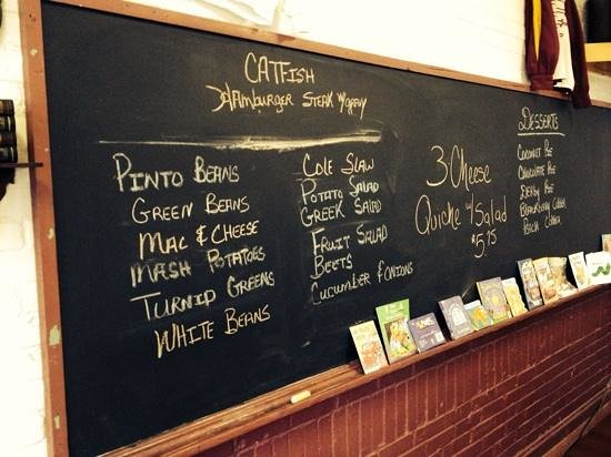 Old School Cafe: part of the menu and an old classroom.