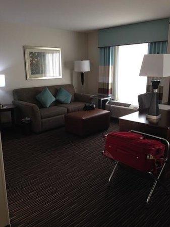 Hampton Inn & Suites Minneapolis / West-Minnetonka : Suite sitting area with sleeper sofa and large desk