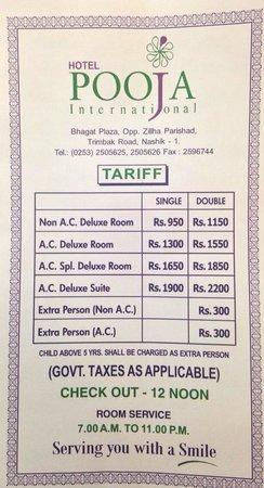 Hotel Pooja International : Tariff