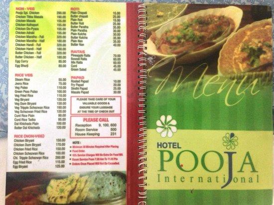 Hotel Pooja International : Menu
