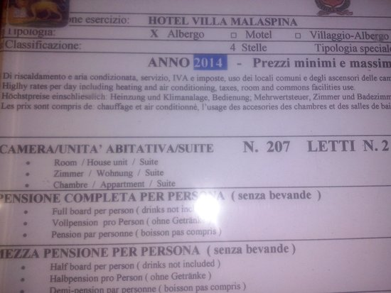 Hotel Villa Malaspina: Due occupanti