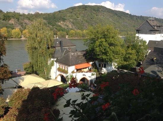 Hotel Ebertor: the view from our room over the beer garden and river