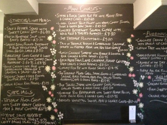 Teesdale Hotel: Photo of the menu on the wall in the bar