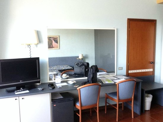 Calderara di Reno, Italy: Bedrooms have blocked door to adjoining room, but come with desk and LCD TV