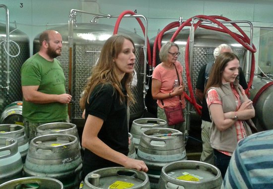 Hawkshead Brewery: Gemma explains the casking process.