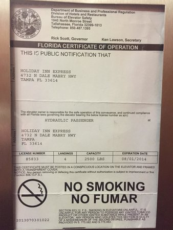 Tampa Stadium Airport Hotel : Here is the expired elevator inspection certificate.