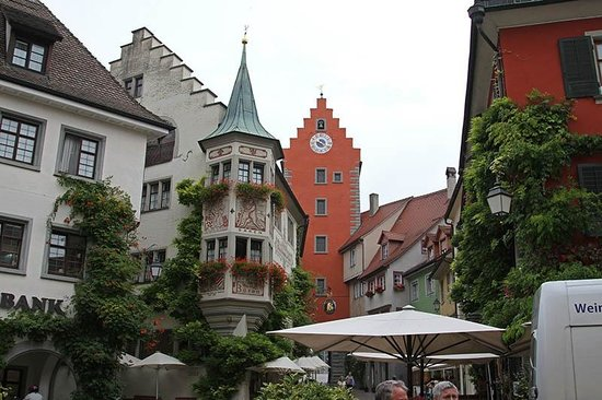 Gasthof zum Baren: That's it to the left of the orange church bell steeple. Our room was the top turret room