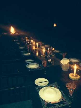 Lake Manze Tented Camp, Selous Game Reserve: EVENING DINNER SET UP
