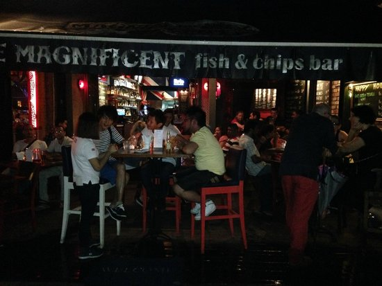 The Magnificent Fish & Chips Bar: The outside seating area