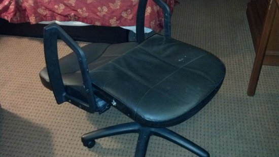 Super 8 Bowling Green North: The chair that broke (I'm 155lbs...)