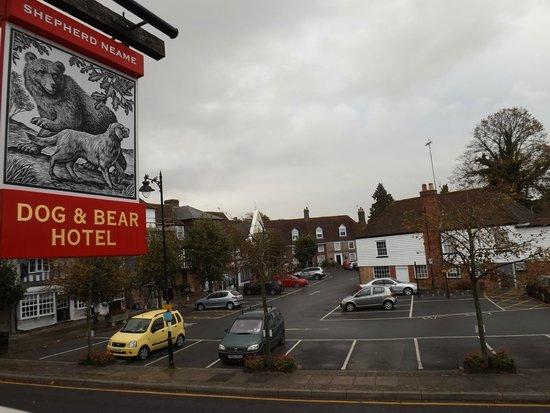Dog & Bear Hotel: View across The Square, Lenham village
