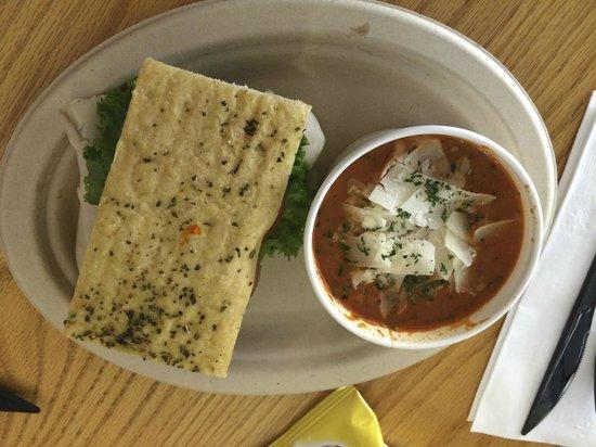 Blue Water Bakery Cafe: Turkey Cranberry Sandwich & Tomato Basil Soup