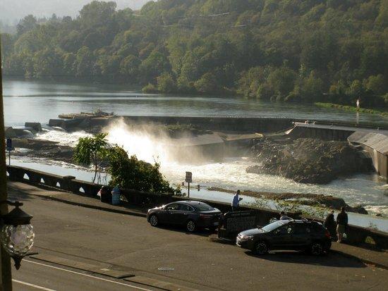 Falls & parking area, Willamette Falls