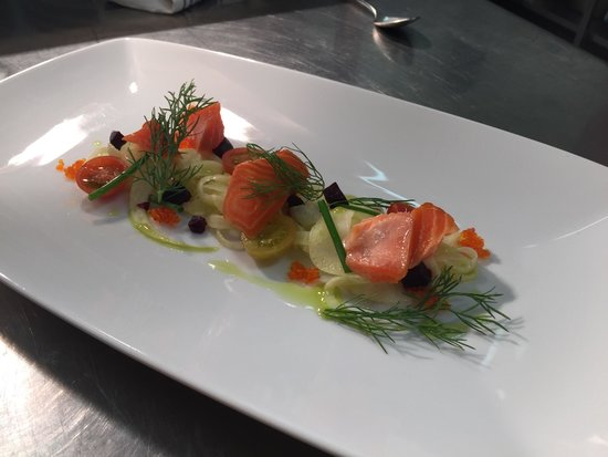 Shakey Tables Restaurant: House smoked petuna trout, Pernod cured fennel, roast beetroot, flying fish roe