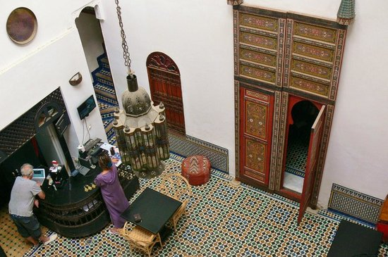 Dar Iman: Looking down into the internal courtyard of the Riad..Max and Kawtar working.
