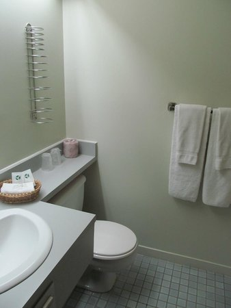Motel Le Transit: bathroom. Clean and well lit.