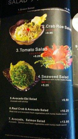 Tokyo Sushi: menu