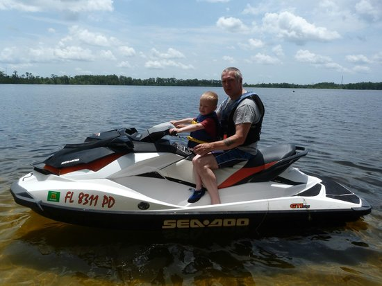 Buena Vista Watersports: 5 year old connor loved the jet ski with grand dad.