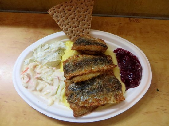 Nystekt Stromming: Fried herring with mashed potatoes, dill mayonnaise, lingonberries and creme fraiche salad