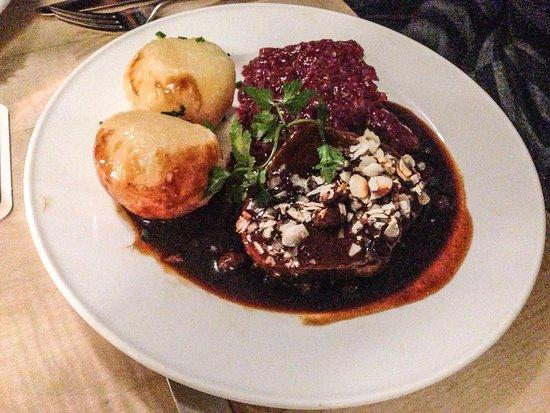 """Funkhaus - Café, Bar, Restaurant: Marinated beef """"Sauerbraten """" With raisins, sauce, red cabbage and potato dumplings"""