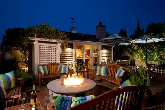 Out door gas fire pit at the Revere Guest House