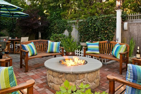 New outdoor gas fire pit at the Revere Guest House