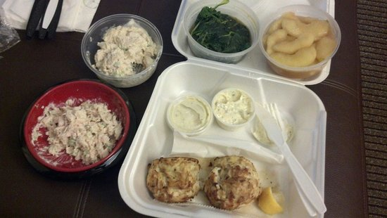 Big Fish Grill: Crab cakes with saute spinach and spiced apple. Also, chicken salad.