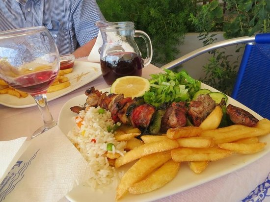 Hotel Solon: My pork skewer, and house wine