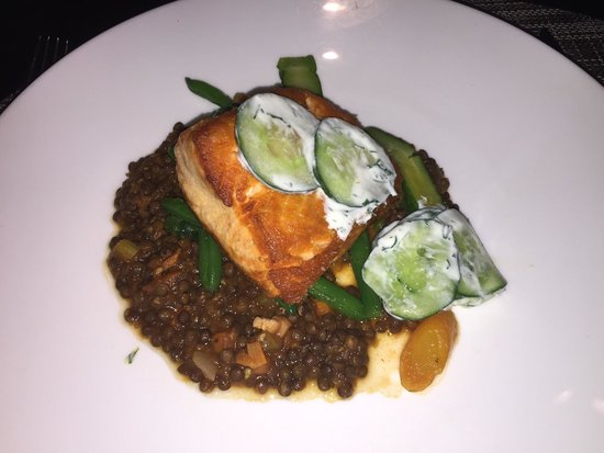 The Ritz Carlton Cafe 4750: Salmon with brown lentils