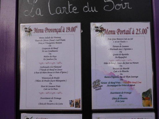 Portail de l'Olivier: menu