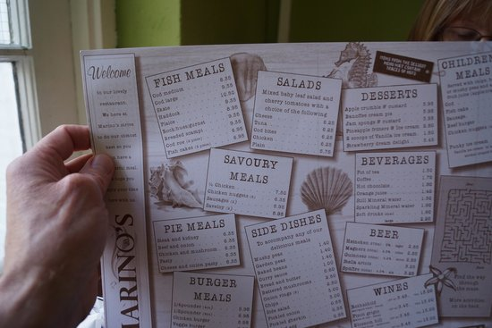 Marino's Fish Restaurant and Takeaway: The Menu.