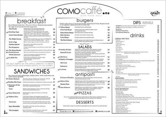 Como Caffe: Part of the menu
