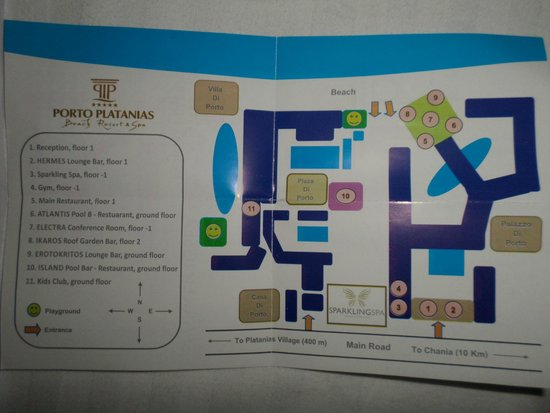 Porto Platanias Beach Resort & Spa: Hotel map