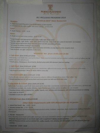 Porto Platanias Beach Resort & Spa: All Inclusive option