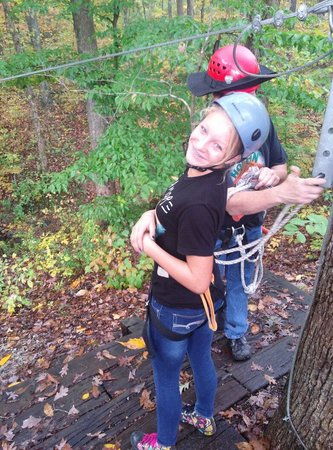 Holler Hoppin' Zip Lines: My daughter getting ready to hop
