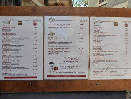 Le Moulin De La Galette: Le moulin's printed menu.  They also have specials on a chalkboard.