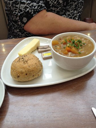 Nicholls Coffee Shop: Welsh lamb cawl with a chunk of mature cheddar and six-seeded roll