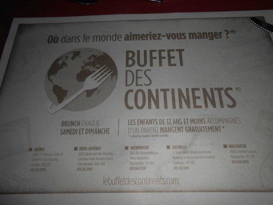 Buffet des Continents : Presentazione locali