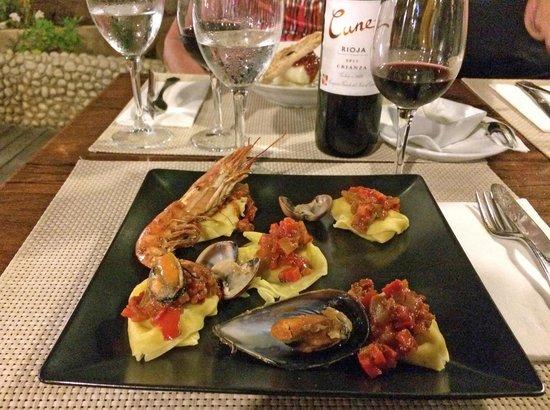 Hotel Ses Figueres: Ravioli mit Meeresfrüchten