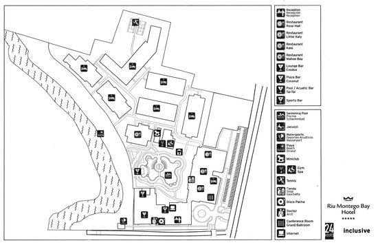 Map that you receive on checkin Picture of Hotel Riu Montego Bay