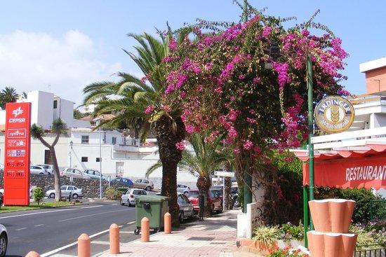 Apartments Pez Azul: Restaurant en benzinepomp schuin tegenover het hotel