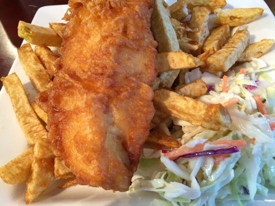 Salty's Fish & Chips: Salty's fish and chips.