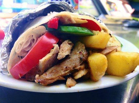 Uni Kebab : Chicken Doner & Chips in handmade Wrap Bread